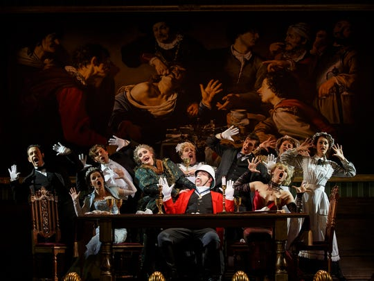 """National Touring Company. The cast with John Rapson as Lord Adalbert D'Ysquith (red) in a scene from """"A Gentleman's Guide to Love & Murder."""""""