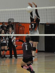 Mary Jane Swanson blocks the ball for Capitan as they