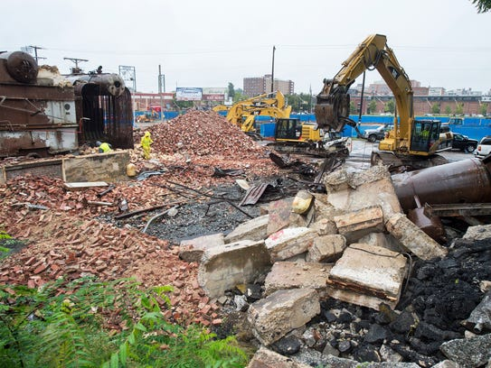 The Pensupreme smokestack has been reduced to rubble.