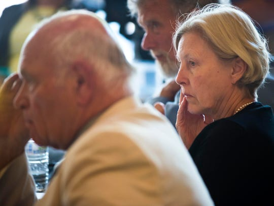 Sen. Jane Kitchel, D-Caledonia, listens as a committee of state legislators takes testimony on the Department for Children and Families in Winooski on Thursday.