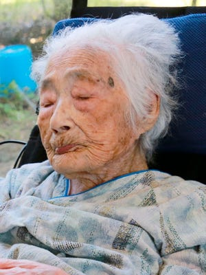 This Sept. 2015 photo shows Nabi Tajima of Japan. Tajima died at age 117 in a hospital Saturday evening, April 21, 2018, in Kikai in southern Japan, town official Susumu Yoshiyuki confirmed. She had been hospitalized since January.