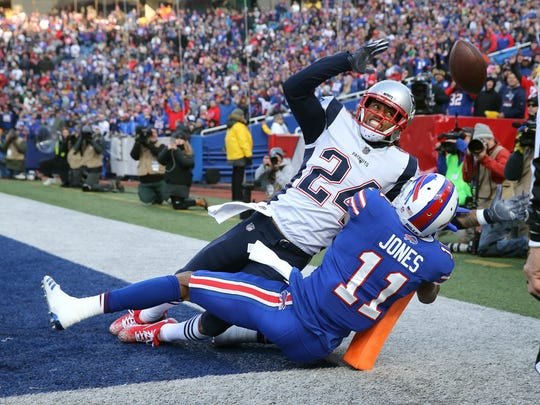 THE PHOTO: Former Bills cornerback Stephon Gilmore breaks up this pass intended for Bills rookie receiver Zay Jones in the corner of the end zone.  FROM JAMIE: I like the wide angle view of this play and that readers could tell it was in the end zone which gives a little more impact on the game.