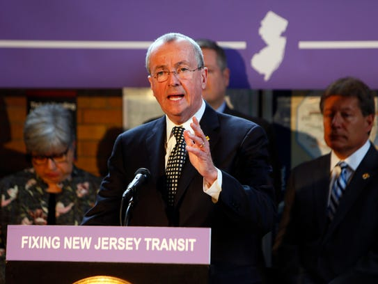 Gov. Phil Murphy speaks at the NJ Transit station in Madison about fixes needed at the agency on March 20, 2018.