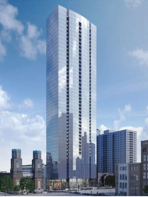 A conceptual rendering of the 505 tower planned for Fifth and Church.