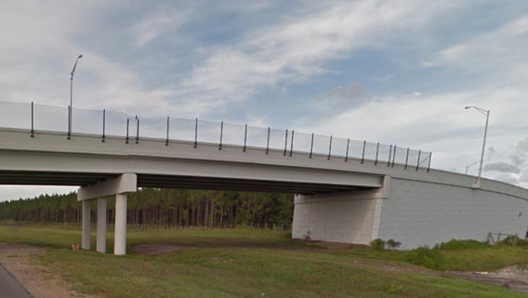 Section of the damaged bridge.