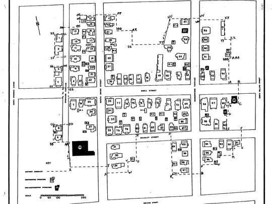 A map of the Buell Street/Bradley Street Historic District