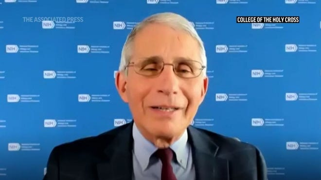 Dr. Anthony Fauci is shown in a screen capture from a remote question-and-answer session Tuesday with students at his alma mater, the College of the Holy Cross in Worcester.