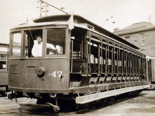 Car 47 of the Chambersburg, Greencastle and Waynesboro Street Railway, at the Waynesboro Car Barn in 1931.