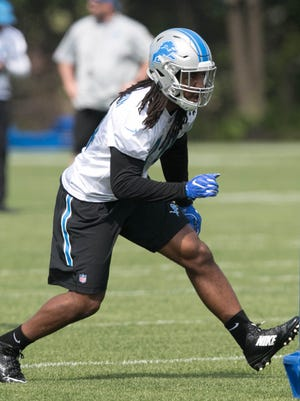 Lions rookie linebacker Jalen Reeves-Maybin takes part in OTAs on Wednesday, May 24, 2017 at the Allen Park practice facility.