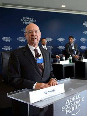 Klaus Schwab, founder and president of the World Economic Forum, shown speaking at a 2013 news conference in Switzerland.