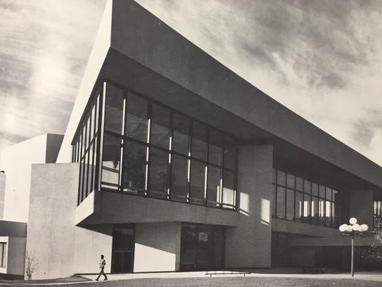 An image of the original Hancher Auditorium is shown