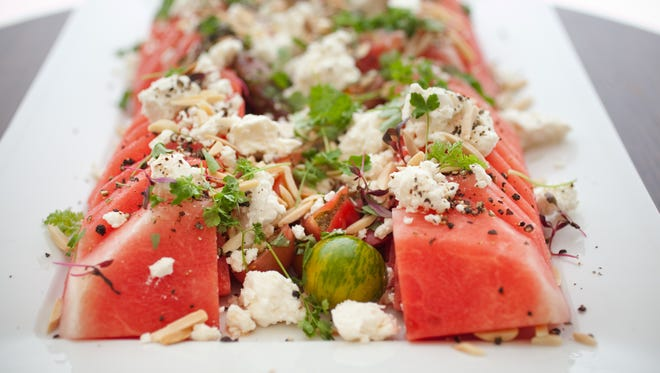 Watermelon Tomato Salad with Feta and Toasted Almonds.
