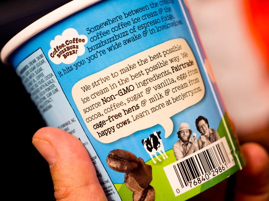 New packaging for Ben & Jerry's 'Coffee Toffee Bar Crunch' touts non-GMO ingredients.