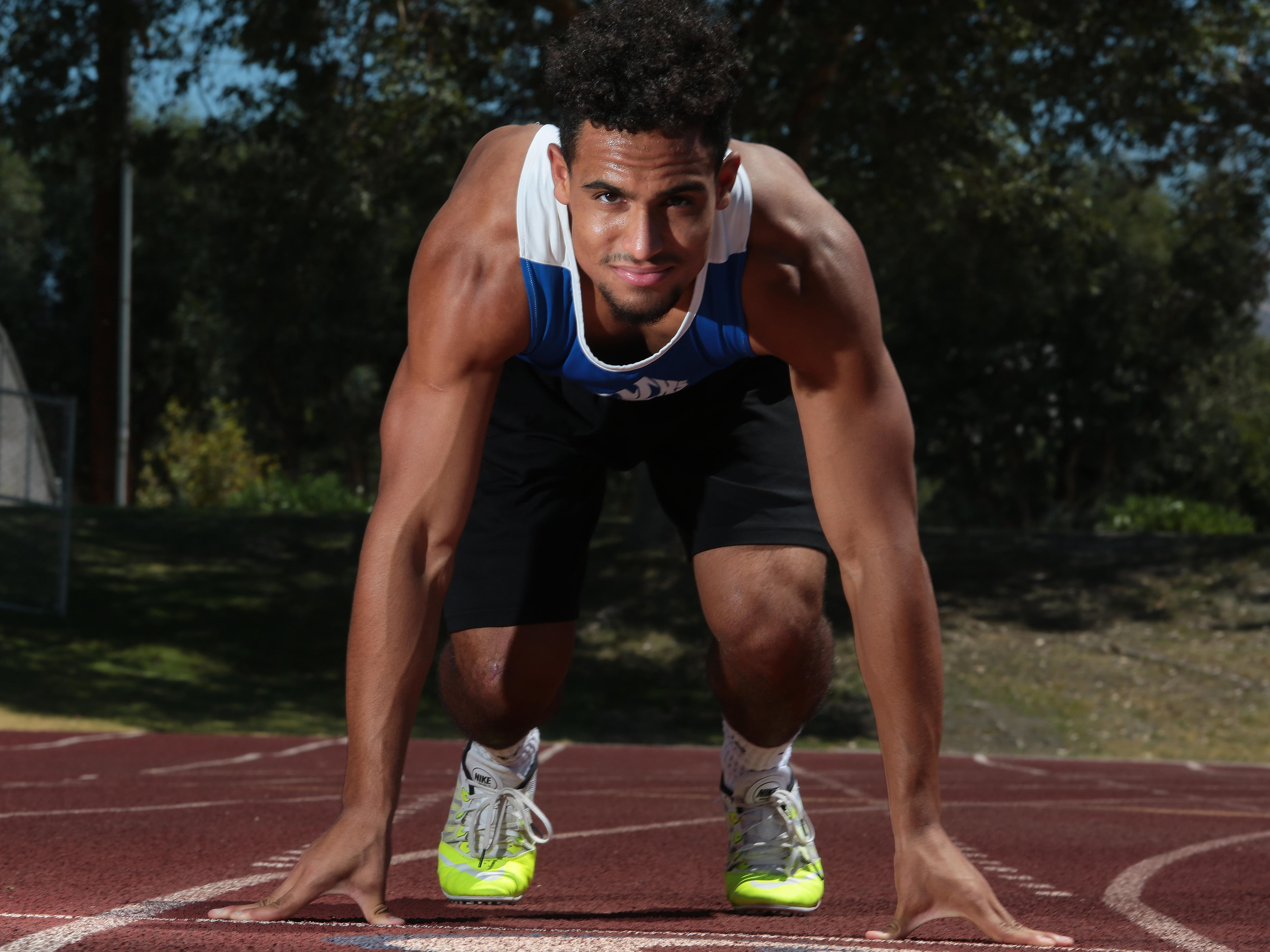 Orlando Wallace, Cathedral City High School football, track and basketball player is the Desert Sun male athlete of the year.