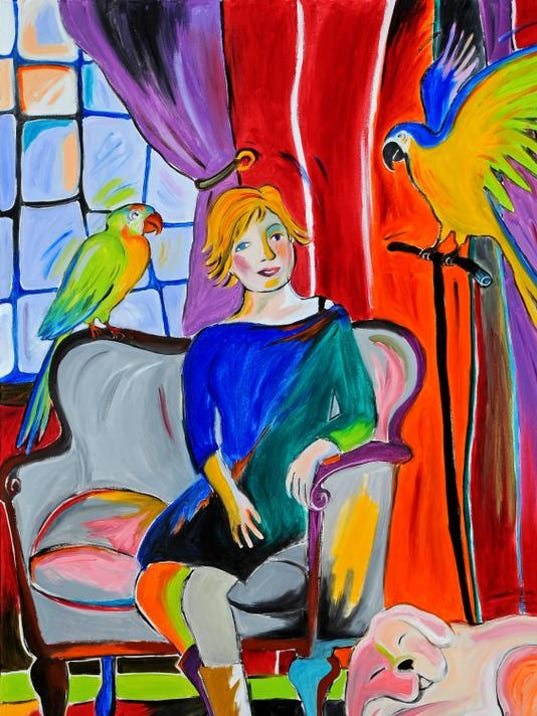 SF-Woman With Parrots and a Dog.jpg