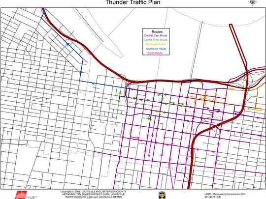Thunder Over Louisville downtown traffic map