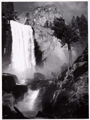 """Vernal Fall, Yosemite Valley, California, c1948' is part of a showing of master works by Ansel Adams opening Saturday, Jan. 29 at the Farmington Museum at Gateway Park."