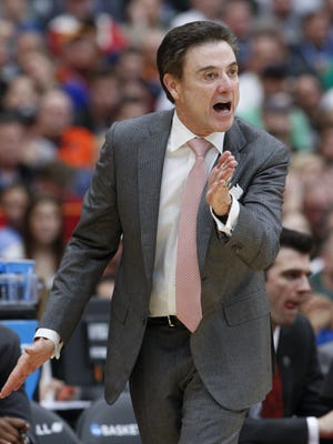 Sam Upshaw Jr./The C-J Rick Pitino says he has received full support from AD Tom Jurich. Louisville basketball head coach Rick Pitino instructs his team against Michigan State during the Elite 8 tournament game in Syracuse, NY.   March 29, 2015