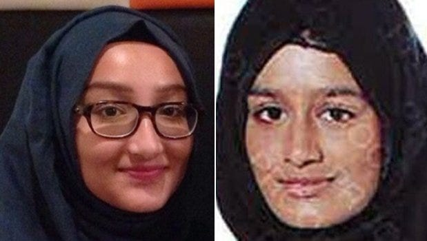 British teenagers Kadiza Sultana, 16, left, and Shamima Begum, 15, are missing and believed to be traveling to Syria to join Islamic State terrorists.
