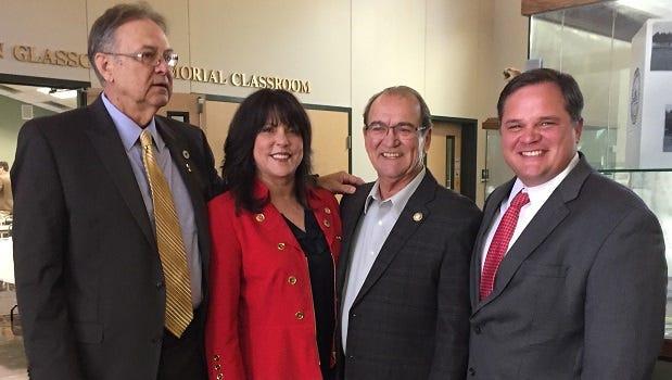 LDWF Secretary Jack Montoucet (third from right) poses with Louisiana legislators Gene Reynolds, Dodie Horton and Ryan Gatti Tuesday in Minden.