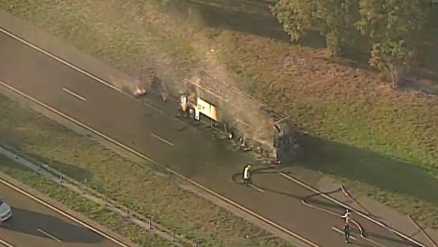 A bus caught fire on State Road 528 east of Orlando Friday afternoon. No one was injured.