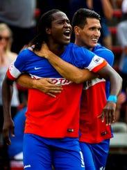 FC Cincinnati's Djiby Fall (9) celebrates with his