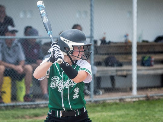 Yorktown's Kara Tucker goes up to bat against Wes-Del in the Delaware County Tournament on Saturday. Tucker went five for five during the game.