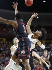 ASU's Remy Martin (1) shoots against Utah's Justin
