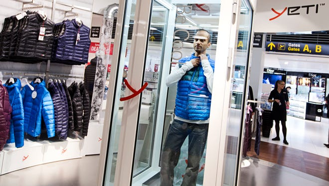 At Copenhagen Airport, Yeti has a special fitting room that lets customers try on clothing in icy cold winter temperatures.