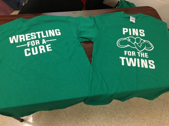 """Pins for Twins"" T-shirts were on sale at Bermudian Springs' Wednesday home meet ahead of a Jan. 26 fundraiser."