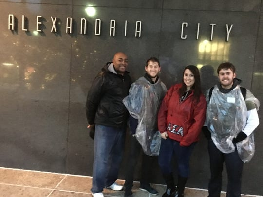 (From left) Volunteers Rodney McNeal, Zach Fleming, Megan Vets and Joseph Buzzetta participate in the Central Louisiana Homeless Coalition's annual one-night count of the homeless.
