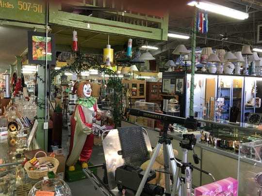 A clown effigy is among the many novelties on offer