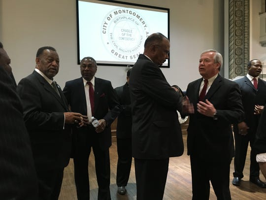 Business and civic leaders talk Wednesday at City Hall