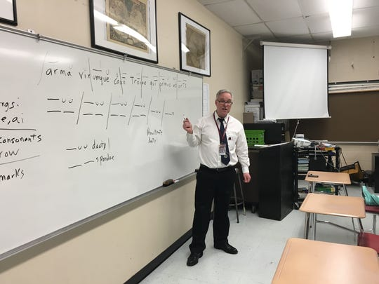 Keith Massey in his Latin classroom at Leonia High School.