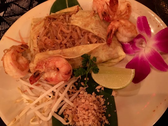 Zen Asian BBQ's pad Thai is served deconstructed in an envelope made of egg.