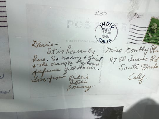 A postcard sent from Indio to Santa Barbara in 1940 has been preserved by Bill Tanghe.