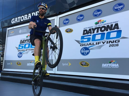 Six-time National Cyclo-cross  champion Tim Johnson, seen here at the ride to Daytona Speedway last month with Jimmie Johnson, will ride in the 400-mile PeopleForBikes' Ride on Atlanta March 30-April 2.