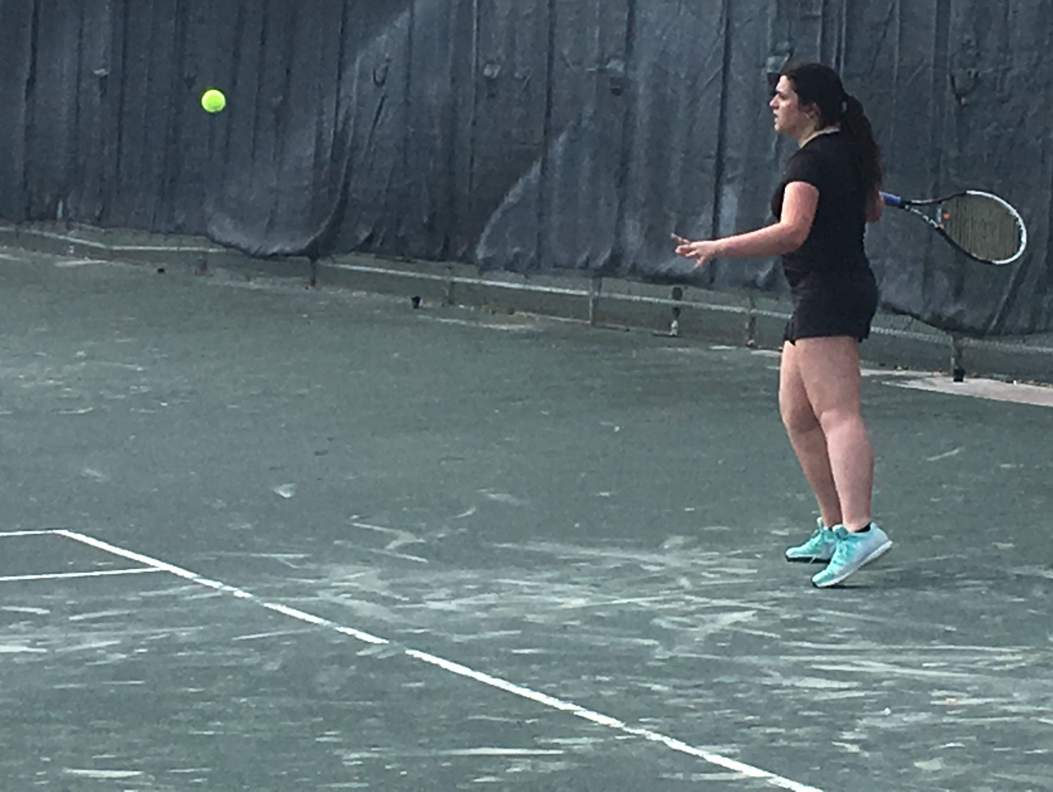 Bishop Verot's Gianna Drayer returns a serve against Lemon Bay's Sarah Lown in the No. 1 singles match of a Region 2A-6 final at Fort Myers Racquet Club. Lemon Bay won 4-1.