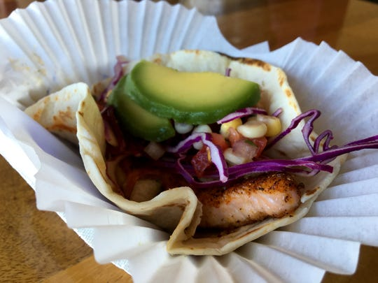 A blackened salmon taco from Cape Cod Fish Co. in Iona.