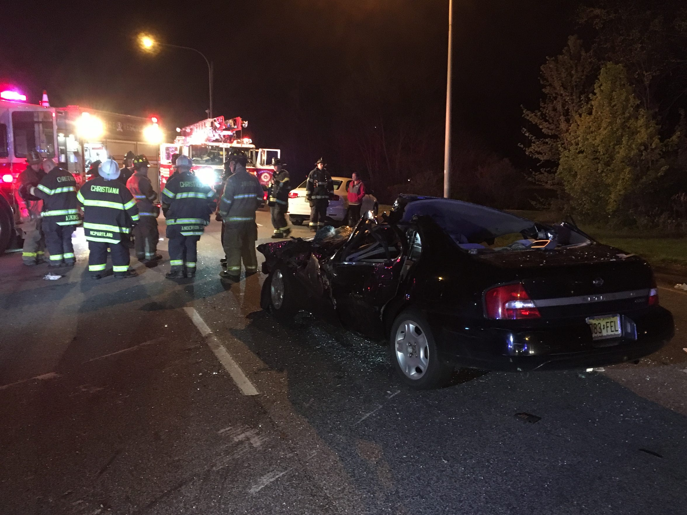 Two people were injured in a head-on collision on Del. 273 in Christiana on Monday night.