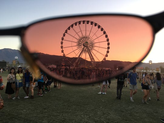 The Ferris wheel at the Coachella Valley Music and Arts Festival is captured through a lens of a pair of vintage sunglasses.
