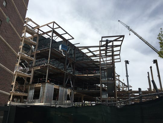 Construction at the new fitness center at UNR as seen