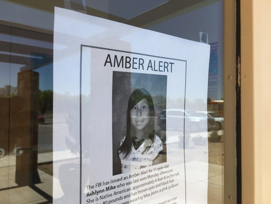 A poster of Ashlynne Mike is posted Tuesday at the