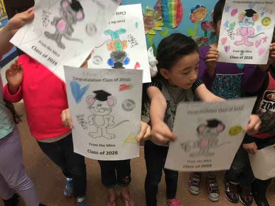 Nob Hill kindergarteners made special posters to congratulate RHS seniors during a commencement preview Tuesday.