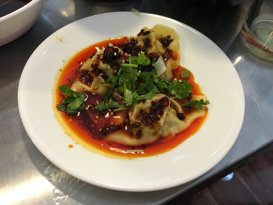 """Dumplings with Sichuan chili sauce, part of the """"Secret"""