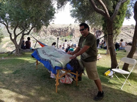 Festival goers can get massages and other treatments at FORM Arcosanti.