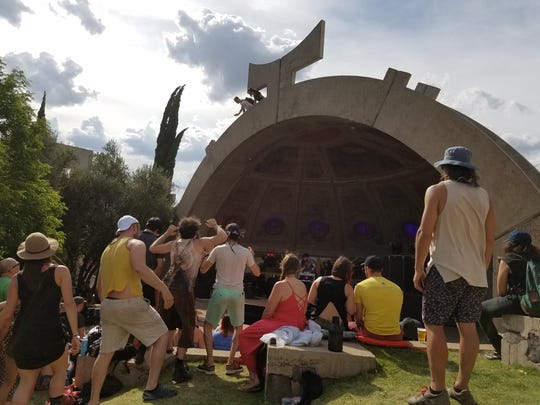 Rival Consoles performs at the APSE stage at FORM Arcosanti.