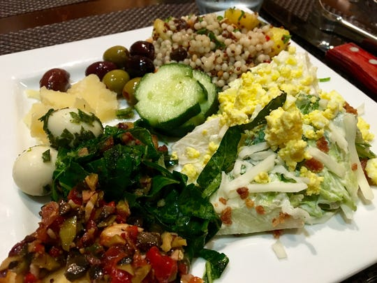 A plate from the unlimited salad bar at Rodizio Grill in Estero.