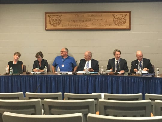 A few members of the Dallastown Area school board ready themselves for the  meeting Thursday, June 16, 2016. At the meeting, the board approved the budget for the 2016-17 school year.