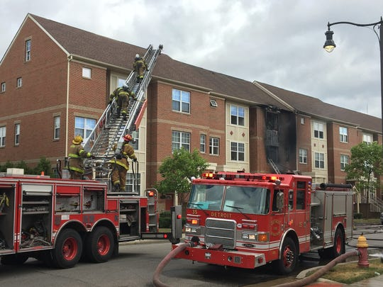 Detroit firefighters put out a blaze in several condo units at Woodbridge Estates.